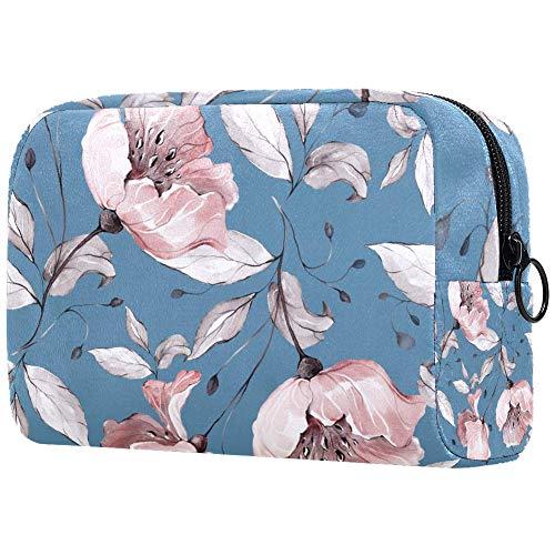 Trousse de toilette pour femme Motif floral rose et bleu