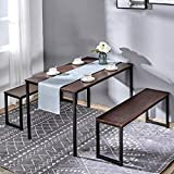 Kealive Dining Table Set with 2 Benches Wood Table Top Sturdy Metal Frame Construction, Rectangle Modern 3 Piece Dining Set Easy Assembly Fit in Dining Room for 4 People, Brown