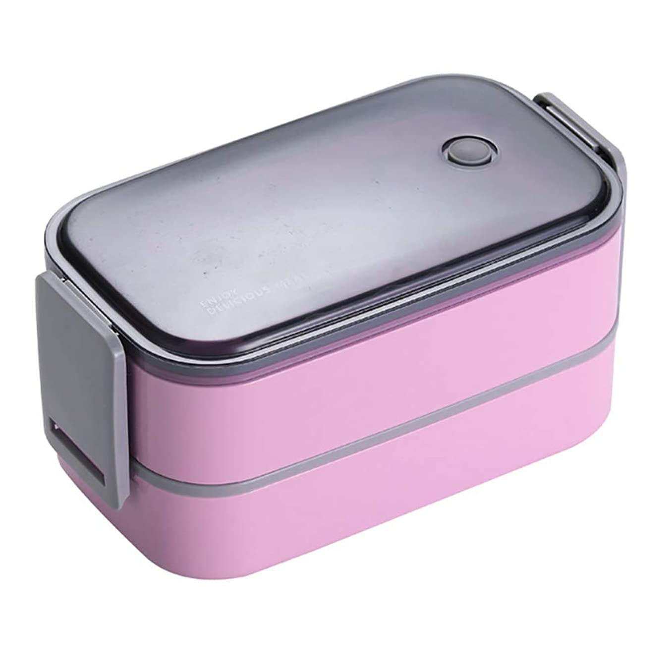 もう一度言い換えると期待ダブルレイヤーのランチボックスポータブルコンテナボックス、BPAフリー、キッズスクールピクニックオフィスワーカーディナー食品容器弁当箱,ピンク