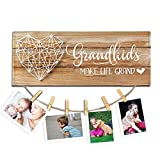 cocomong Grandkids Photo Frame  Grandkids Make Life Grand  Gfits for Grandma & Grandpa from Grandchildren, Grandparents Picture Frame 13.5 x 5.5 inch with 6 Clips