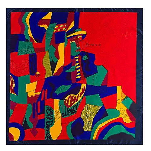 VAILANG 90x90cm Imitación Seda Mujer Bufanda Cuadrada Colorido Gráfico Abstracto Pintura al óleo Imprimir Chal Pañuelo para el Cuello Cinta Cinta Headwrap