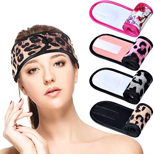 4 Diademas Faciales de Spa de Mujer Banda de Pelo de Maquillaje Envoltura Suave de Pelo de Toalla Diademas de Cabeza de Tela de Felpa Elástica con Cinta Adhesiva Ajustable para Baño, Yoga