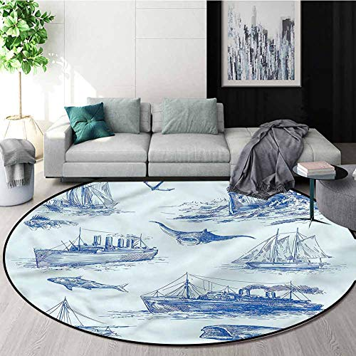Check Out This RUGSMAT Nautical Small Round Rug Carpet,Wildlife Shark Boat Perfect for Any Room, Flo...