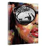 Sadhaf personalidad gafas chica cara lienzo impresión pintura para niños decoración del hogar accesorios sala decoración mural a6 70x100 cm
