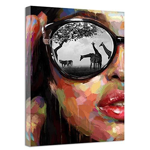 SADHAF Persönlichkeit Brille Mädchen Gesicht Leinwand Druck Gemälde für Kinder Wohnkultur Zubehör Wohnzimmer Dekoration Wandbild A2 40x50cm