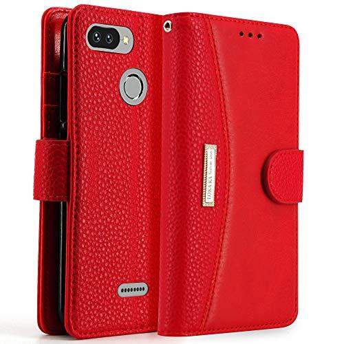 "LOKAKA Funda Xiaomi Redmi 6&6A,Soporte Plegable, Ranuras para Tarjetas, Cierre magnético,Funda Tapa para Xiaomi Redmi 6&6A (Rojo, 5.45"")"
