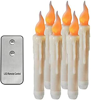 Realistic Flameless LED Taper Candle,Yellow Flickering Remote Control Battery Operated LED Candle,Long Lasting Lifes LED Candle for Christmas,Party,Wedding,Halloween,Home and Table Decor
