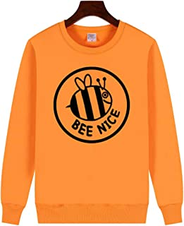 YEMOCILE Women's Bee Nice Letter Graphic Round Neck Pullover Tops Sweatshirt