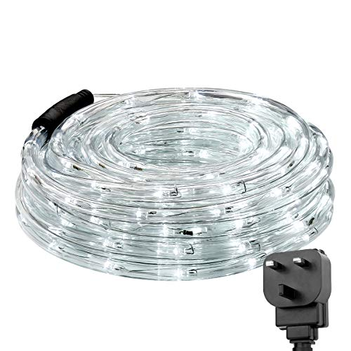 Lepro Outdoor Rope Lights Mains Powered, Linkable, Low Voltage, 10M 240 LED Outside String Lights Plug in, Bright Daylight White, Waterproof for Garden, Caravan, Camping Tent, Gazebo, Tree and More