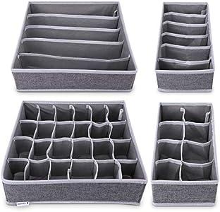 Navaris 4X Organizadores de cajones con Compartimentos - Caja de almacenaje de Tela Plegable - Organizador de Armario para Ropa Interior Calcetines