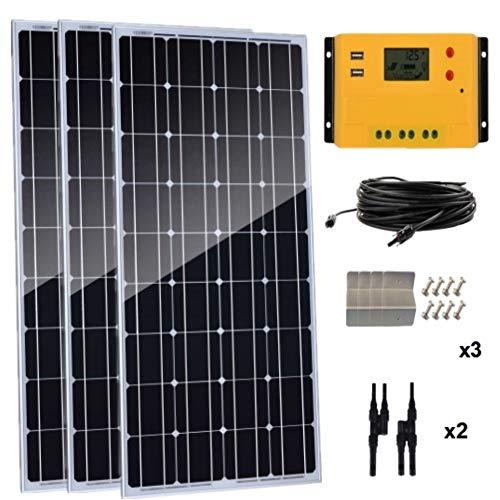 AUECOOR 300 Watt monokristallines Solarpanel-Set, 3 Stück, 100 W, 12 V, hocheffizientes Solarmodul mit 30 A Laderegler für Wohnmobil und Boote
