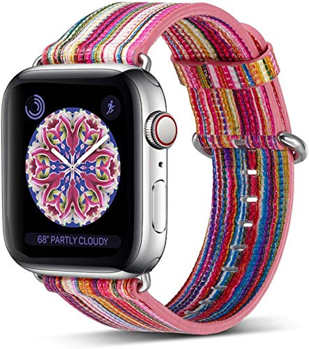 Pierre Case Compatible Apple Watch Band 38mm 40mm, Genuine Leather iwatch Strap Replacement Bands with Stainless Metal Clasp Compatible iWatch Series 5&4 &3 & 2 & 1 Edition Women Girl (Pink)