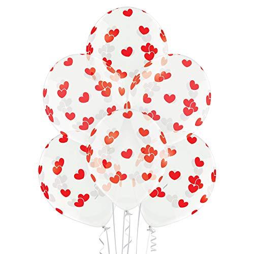 PARTY FACTORY Motivballons aus Latex, ø27cm, 25 Stück, bunte Farben - für Geburtstag, Hochzeit, Halloween, Silvester, Fußball; verschiedene Motive (Herzen transparent)