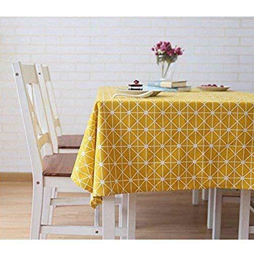 meioro Manteles Mantel Rectangular Cubierta de Mesa de Lino de algodón Manteles de Sarga Simples Adecuado para la decoración de cocinas caseras, Varios tamaños(Amarillo,120×160cm)
