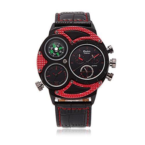 iWatch Herren Armbanduhr Japanisches Quarz Analog Kompass mehrere Zeitzonen Leder Armband Sport Uhr mit Rot Zifferblatt