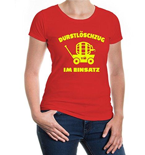 Girlie T-Shirt Durstlöschzug im Einsatz-M-Red-Neonyellow