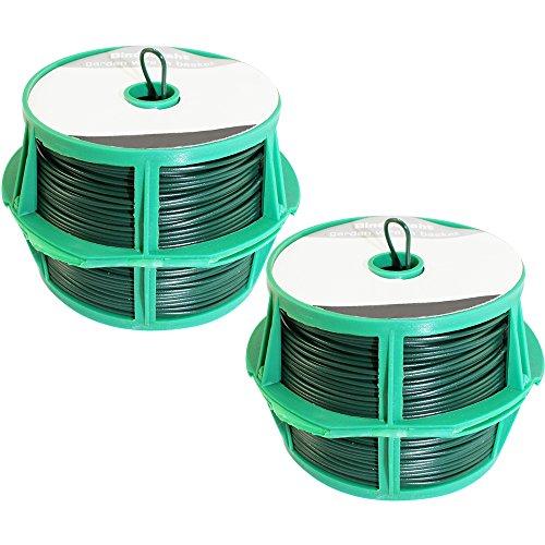 com-four® 2X Rouleaux avec 50 mètres de Fil plastifié - 100 mètres de Fil de Ligature - Fil de Fer Jardin (02x 50m Vert V2)