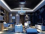 Mznm 3D Photo Wallpaper Ceiling Mural Wall Space Star CeilingMuralLiving Room Bedroom Ceiling Wallpaper Home Decor-200X140Cm