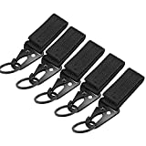 Coolty 5 Pack Tactical Hanging Belt Carabiner Clip Molle Strap Snap Hook Nylon Webbing Buckle Strap Clip Backpack Tape Keychain Hanging Buckle Belt for Camping Hiking Outdoor Activity