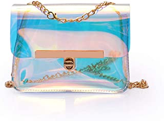 Marchome Holographic Clear Messenger Bag Chain Crossbody Shoulder Bag for Women and Girls