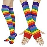 Falda de Tutu Mujer,SHOBDW Fiesta De Cumpleaños para Adultos Arco Iris Regalo Rendimiento Traje de Baile Guantes Largos Muslo Medias Altas Pettiskirt Set de Accesorios(A)