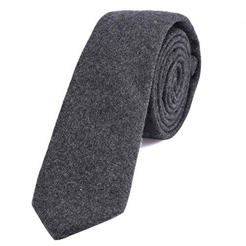 DonDon Herren Krawatte 6 cm Baumwolle grau