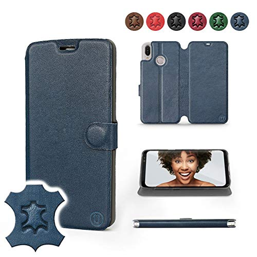 Mobiwear | Echt Lederhülle | Kompatibel mit Asus Zenfone Max M2 ZB633KL, Made in EU handyhülle, Slim Leather Hülle, Premium Flip Schutzhülle, Transparent TPU Silicon, Book Style, Tasche - Blaues Leder