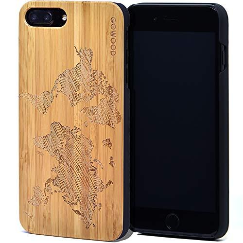 Coque iPhone 7 Plus et 8 Plus en Bois   Coque en Bois de Bambou avec Gravure Carte du Monde - Côtés en Polycarbonate et Caoutchouc Résistant pour Protection Optimale GOWOOD