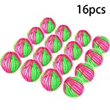 16 Pieces Washing Ball Lint Remover Balls Laundry Wash Balls Magic Hair Removal Plastic Laundry Ball to Save Drying Time (Rose Red Green)