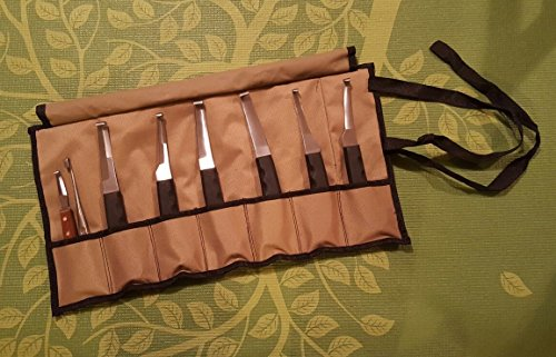 Set of 8 Hoof Knife Knives Farrier Equine Horse Sheep Stainless Steel Blade Polished Wooden Handle + Fold Up Case
