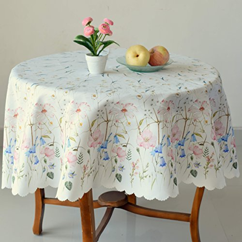 AHOLTA DESIGN Finest Turkish Floral Coloring Round 52' Easter Tablecloth Non-Iron Stain Resistant- Table Cover Kitchen Dining Room Spring Summer Dinner Easter Decorations (Ecru Flowers, Round 52')