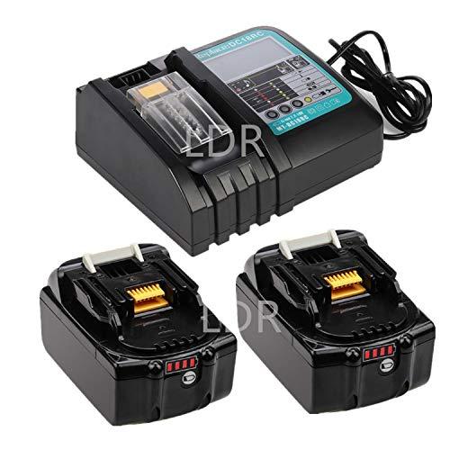 Ersatz Schnell-Ladegerät(LED) mit 2X Akku 18V 5.0Ah für Baustellenradio Makita Radio 18V DMR110 DMR112 DMR113 DMR114 DMR115/ Akku-Heckenschere DUH523Z / akku-kettensägeDUC353Z Werkzeugsets Batterie