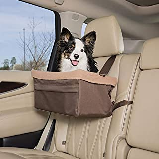 PetSafe Happy Ride Booster Seat - Dog Booster Seat for Cars, Trucks and SUVs - Easy to Adjust Strap - Durable Fleece Liner is Machine Washable and Easy to Clean - Large, Brown