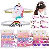 Konsait Unicorn Party Favors,Unicorn Elastic Hair Ties,Hair Clips,Rainbow Unicorn Headbands for Girls Kids Rainbow Unicorn Birthday Party Supplies Baby Shower Party Fillers Set(23pack)