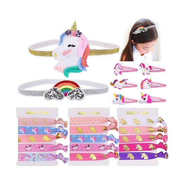 Konsait Unicorn Party Favors,Unicorn Elastic Hair Ties,Hair Clips,Rainbow Unicorn Headbands for Girls Kids Rainbow Unicorn Birthday Party Supplies Baby Shower Party Fillers Set(23pack) 3