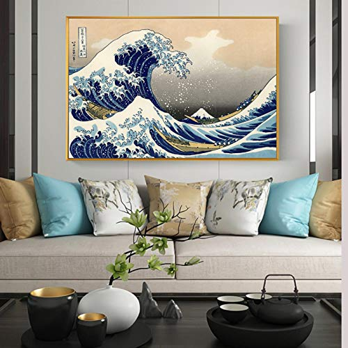 The Great Wave off Kanagawa Canvas Paintings Wall Art Posters and Prints Classical Famous Seascape Art Pictures 60X90cm Kader