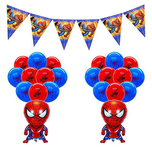smileh Decoracion Cumpleaños Spiderman Globos Spider Man Pancarta para Niños Decoraciones de Fiesta Cumpleaños