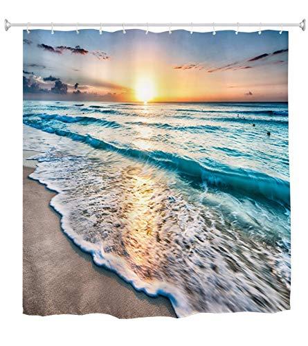 A.Monamour Duschvorhang Sonnenuntergang Ozeanblau Meer Ozean Wellen Sand Strand Natur Landschaft Druck Wasserdicht Polyester Stoff Duschvorhang Set Mit Haken Für Badezimmer 165x180 cm / 65