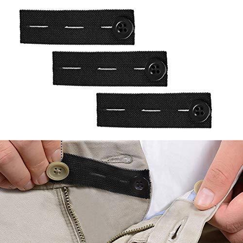 Broek taille extensie gesp, 3 sets knoopsgaten, Elastische verstelbare broek gesp, Zwangere dikke broek, Zwarte elastische gesp, Elastische tailleband Extender