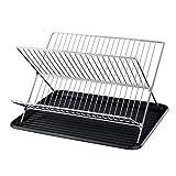 Luo-401XX Escurreplatos, Forma De X Plegable Plato Plato Taza Vajilla Tazón Secadora Estante Organizador Estante Para Cocina Casera Negro