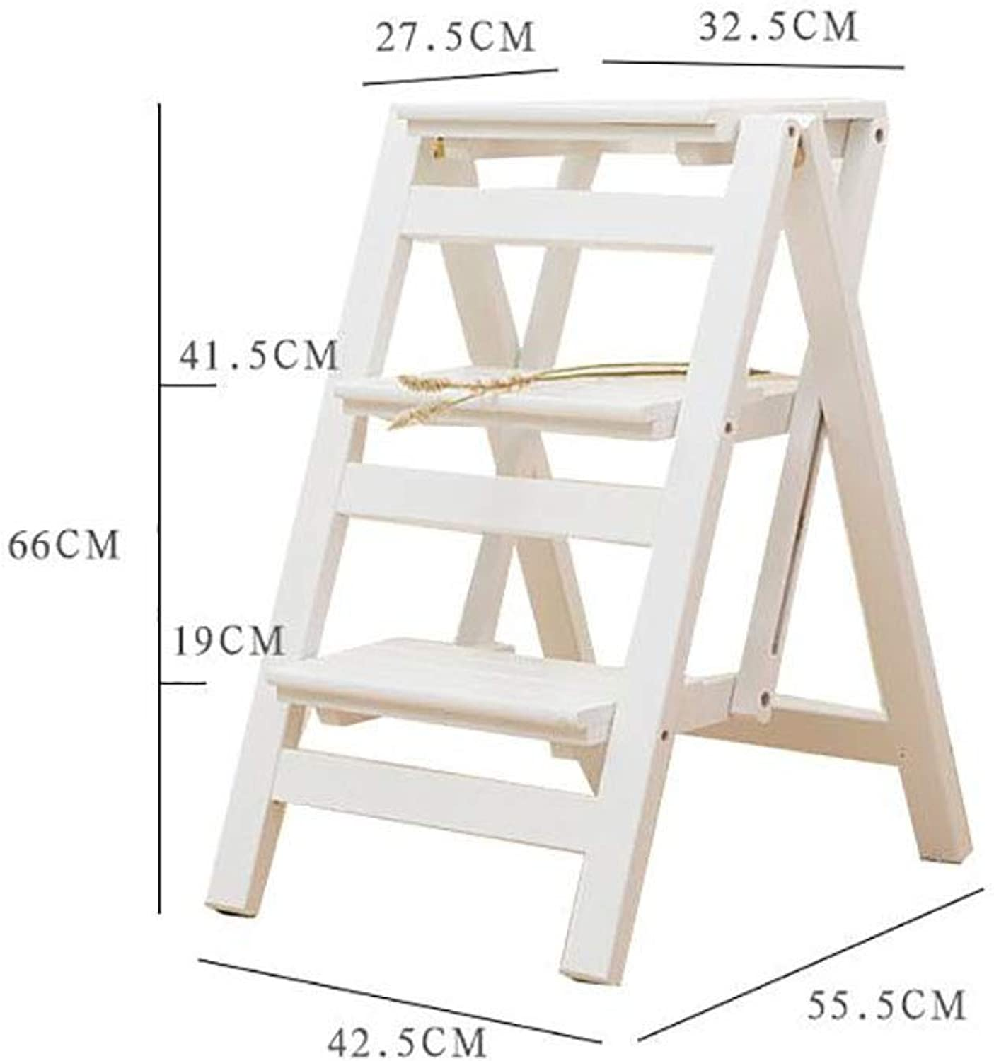 FFLSDR Step Stool Solid Wood 3 Ladder Suitable For Family Use Small Ladder Flower Stand (color   C)