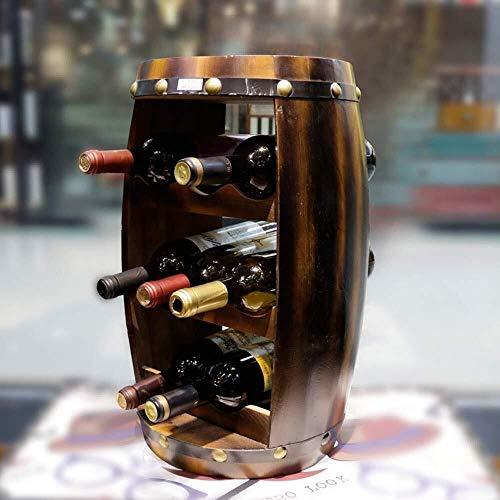 CAIJINJIN estante del vino Sólido abierta de madera barril de vino en rack Decoración 8 botellas de vino creativo vertical Gabinete delicado hermosa Almacenamiento