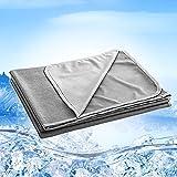 Qisiewell Manta de Microfibra de enfriamiento Manta de enfriamiento automático Manta de Verano de sofá de Viaje Edredón para Adultos y niños Suave de Dos Lados Fresco / cálido - Gris 200x150 cm