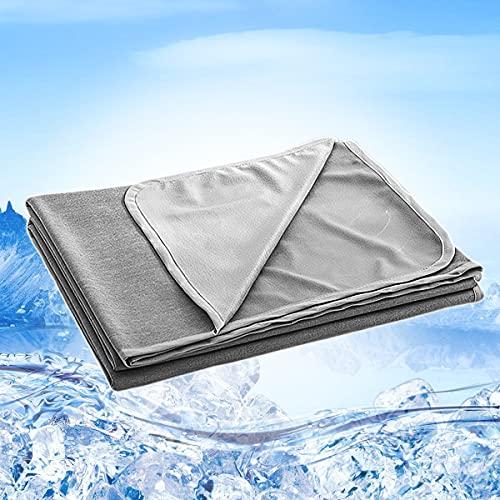 Qisiewell Manta de Microfibra de enfriamiento Manta de enfriamiento automático Manta de Verano de sofá de Viaje Edredón para Adultos y niños Suave de Dos Lados Fresco / cálido - Gris 200x150 c