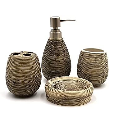 Fashion Bathroom Accessories Set 4PC Ceramic Toothbrush Holder Soap Dispenser Tumbler Soap Dish by Asien