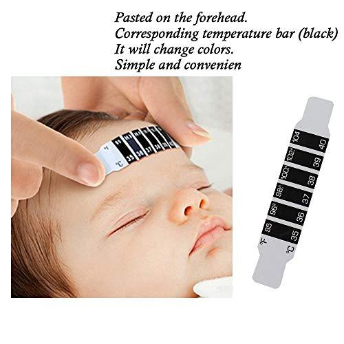 Mxstnk Fieber Kopf Thermometer, Stirnthermometer Temperaturtest Test Streifen,Baby Stirn Körpertemperatur Aufkleber,Baby Stirn Band Reise Unterwegs Temperatur (3PC, 9x1.6cm)