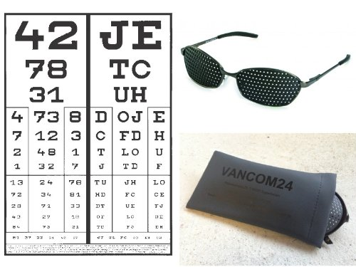 BioTec Pack complet paire de lunettes à grille de luxe avec entraînement pour les yeux sur CD Garantie de 3 ans Fabriqué en Allemagne Lunettes à grille en métal et à monture légère