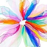 KINDPMA Pañuelos de Malabares 25 Colores Pañuelo de Baile Rítmica Pañuelos Mágicos Cuadrado Bufandas de Danza para Niños Fiestas Actividades y Juegos 60x60cm