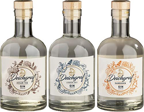 3er Set Deichgraf Asam Tee Gin 43% vol, London Dry Gin 43% vol. und Sanddorn Gin 43% vol, je 0.5l Flasche - Mix Paket Heiko Blume