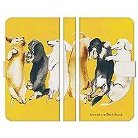 ブレインズ Xperia Ace SO-02L 手帳型 ケース カバー ダックスフンド イエロー NoA グッズ ペット 犬 イヌ イラスト ダックス